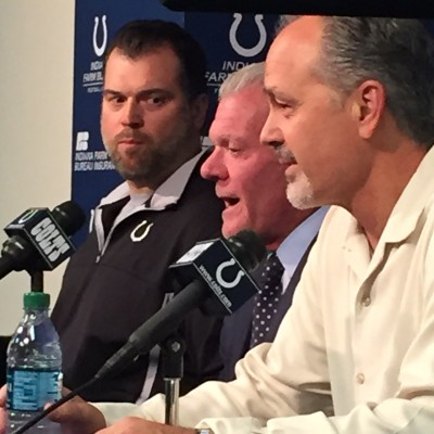 Ryan Grigson, Jim Irsay, and Chuck Pagano announce they together will continue to work toward a championship during the next four years.