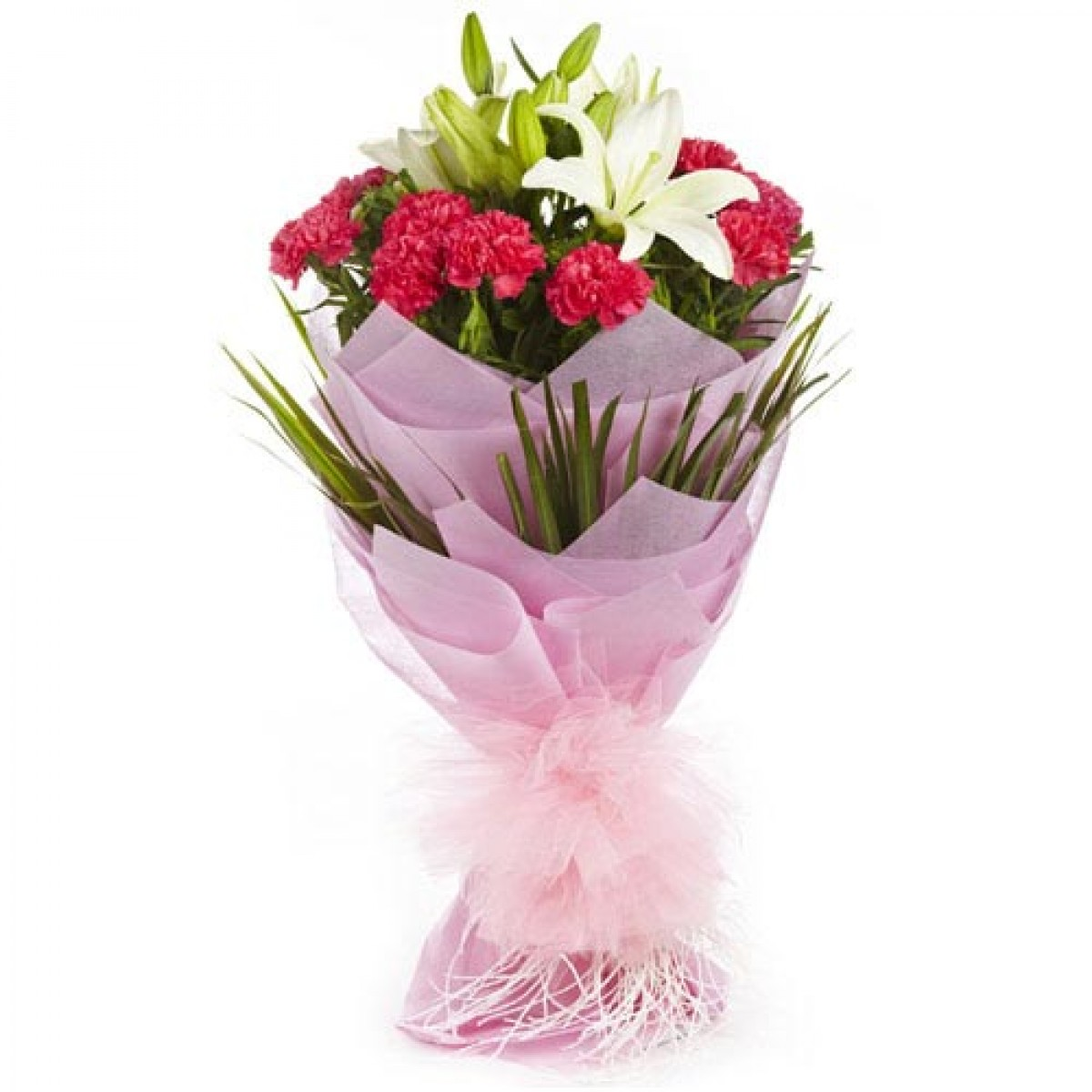 Carnation Flower Gift Lily And Carnation Bouquet | Buy Gifts Online