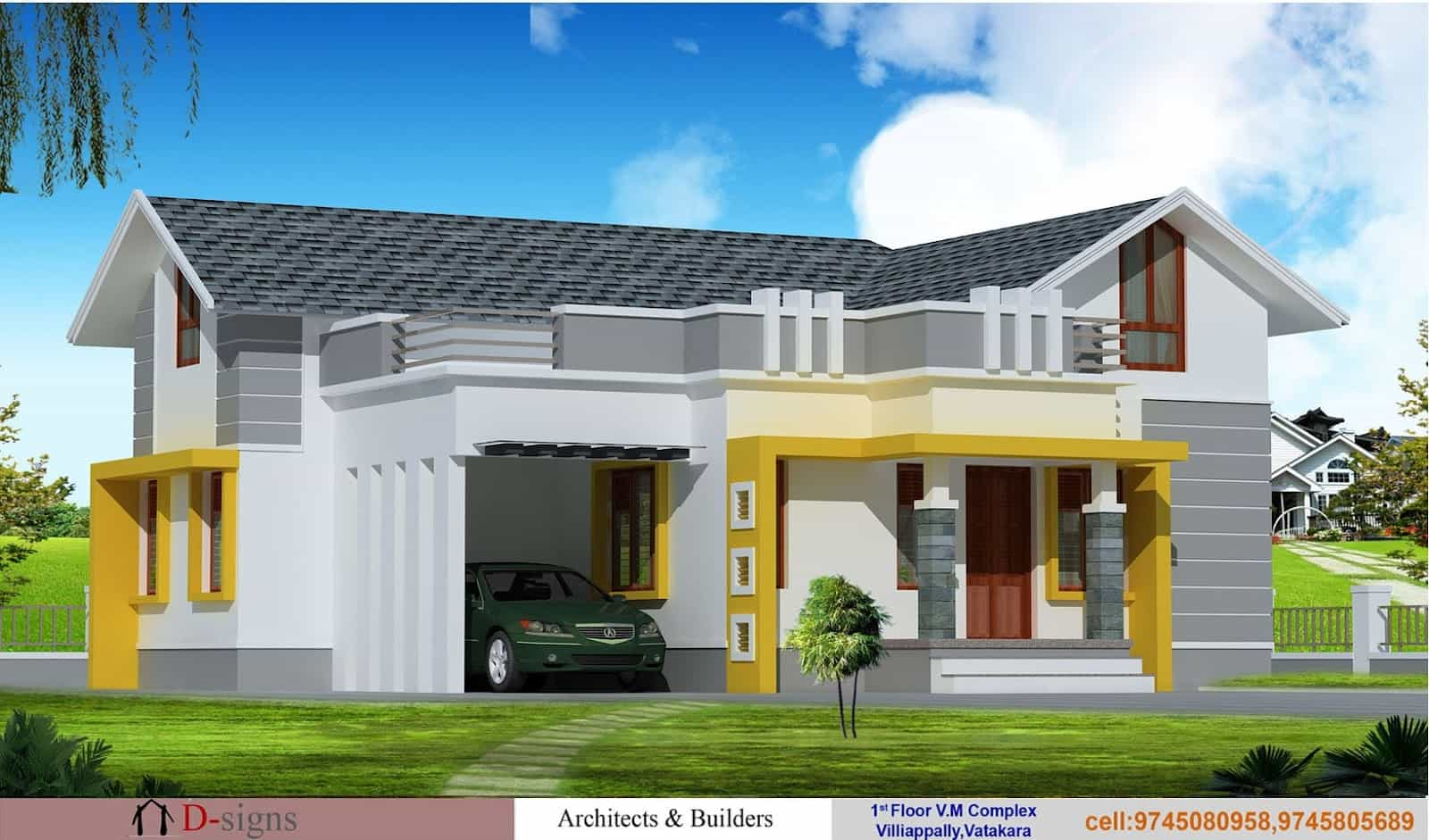 House Design One Floor Single Floor Kerala House Elevation At 1200 Sq.ft