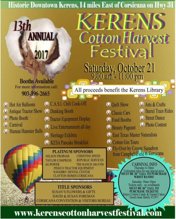 2017 Kerens Cotton Harvest Festival Flyer - Kerens Cotton Harvest