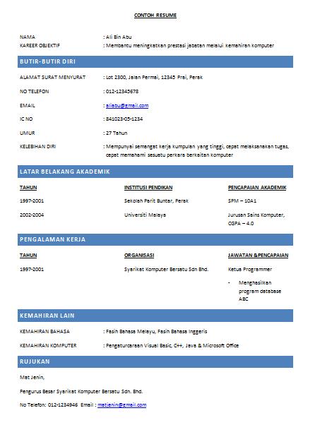 contoh resume kerja in english