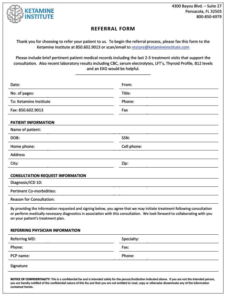 Physician Referral Form - Ketamine Research Institute