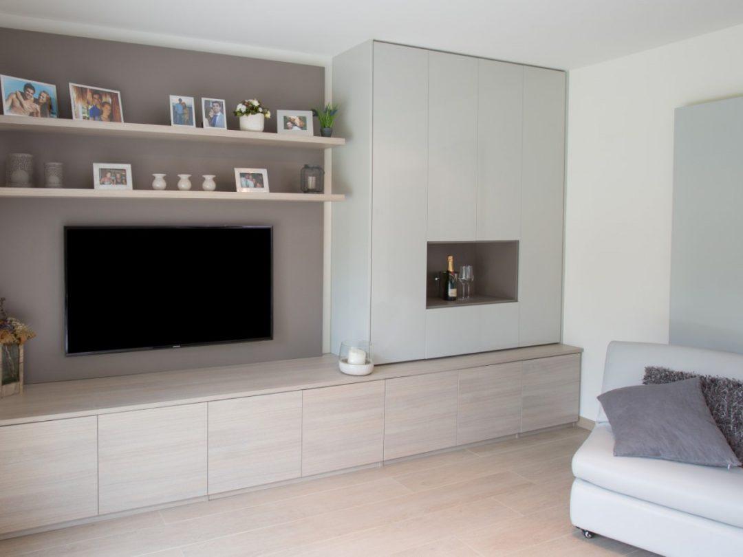 Tv Aan Muur : Demaklussen klusbedrijf steenstrips muur met led tv meubel