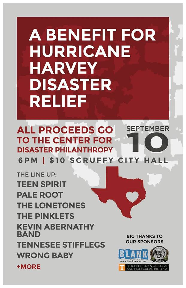 Hurricane Harvey Disaster Relief Benefit Kevin Abernathy - disaster relief flyer