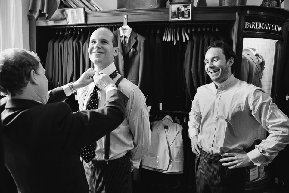 Groom suit fitting