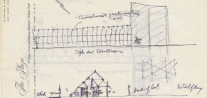 Dibujo de Frank Lloyd Wright enviado a James Johnson Sweeney/ Photo Credits: Frank Lloyd Wright Foundation, Scottsdale, Arizona