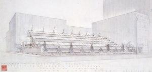 Plano del pabellón de cristal de 1953/ Photo Credist: Frank Lloyd Wright Foundation, Scottsdale, Arizona