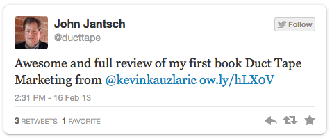 Tweet by John Jantsch referring to the book review of 'Duct Tape Marketing'