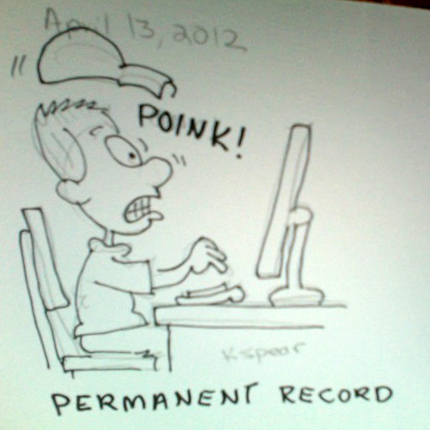 Sketch of a man surprised by seeing his permanent record