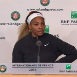 Serena Williams after her 2nd round loss to Garbine Muguruza at the French Open