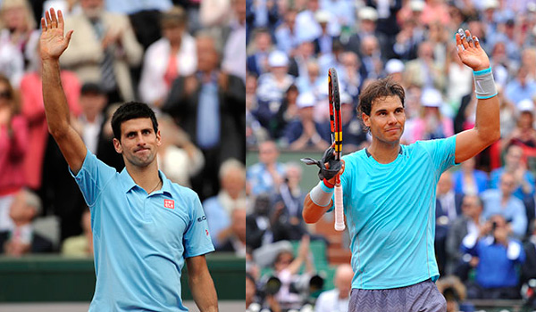 Novak Djokovic and Rafa Nadal (© FFT)