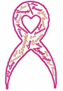 Cancer Text Art Embroidery Design