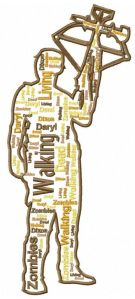 Walking Dead Daryl Text Art Embroidery Design (3 sizes)