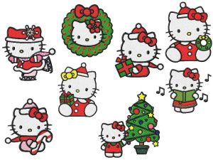 Hello Kitty Christmas Embroidery Designs