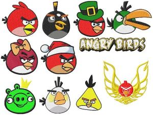 Angry Birds Embroidery Designs Set