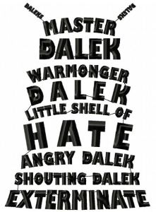 Dr Who Dalek Text Art Embroidery Design