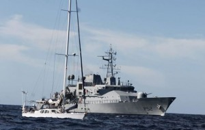 Makayabella being intercepted off the coast of Ireland