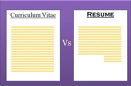 Difference Between CV and Resume (with Comparison Chart) - Key - Resume To Cv