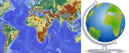 Difference Between Map and Globe (with Comparison Chart) - Key