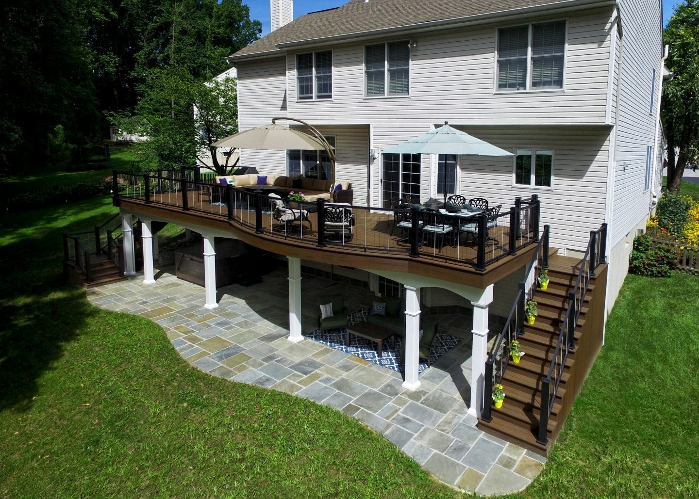 Patio Designes Elevated Deck Designs Safety Features For Above Ground Decks