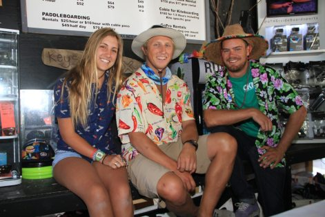 Employees of Keys Cable — Cheyenne Manos, Nathan Heikkila and Doug Burke — hang around in the wakeboard shop.