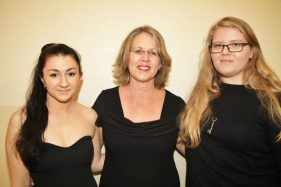 """""""Charlie Brown"""" director Natalie Ehrig, left, with teacher sponsor Lyn Cox and stage manager and assistant director Autumn Tipsword."""