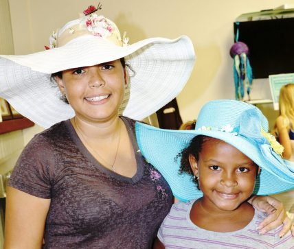 Jessica Lugo with daughter Jayda, 8, show off their masterpieces.