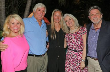 Lindy Roth, left, who lost her husband to cancer, with event co-chairs Ron Saunders and Jill Cranney-Gage, and hosts Peary and Richard Fowler chat at the event. 'We have a great goal to meet,' said Saunders, 'and with this great committee, we should be able to get to it.'