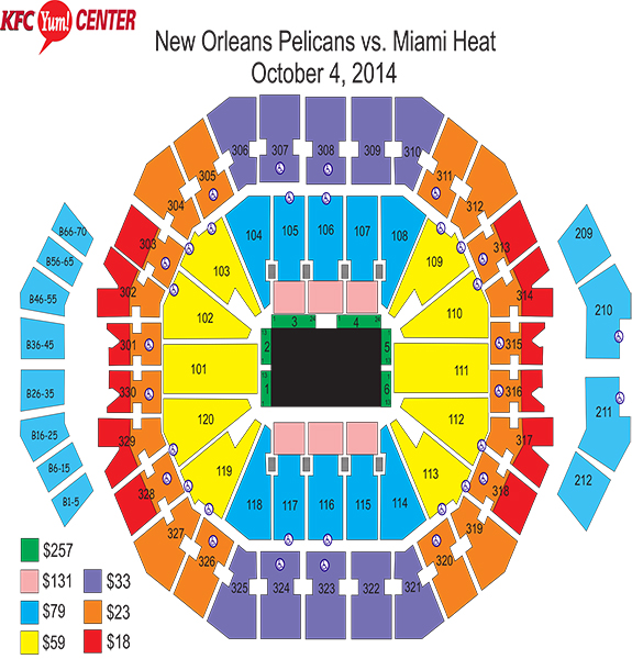 Seating chart for Heat-Pelicans exhibition released