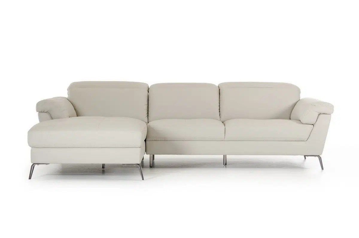 Divani Casa Edelweiss Modern Light Grey Eco Leather Sectional Sofa