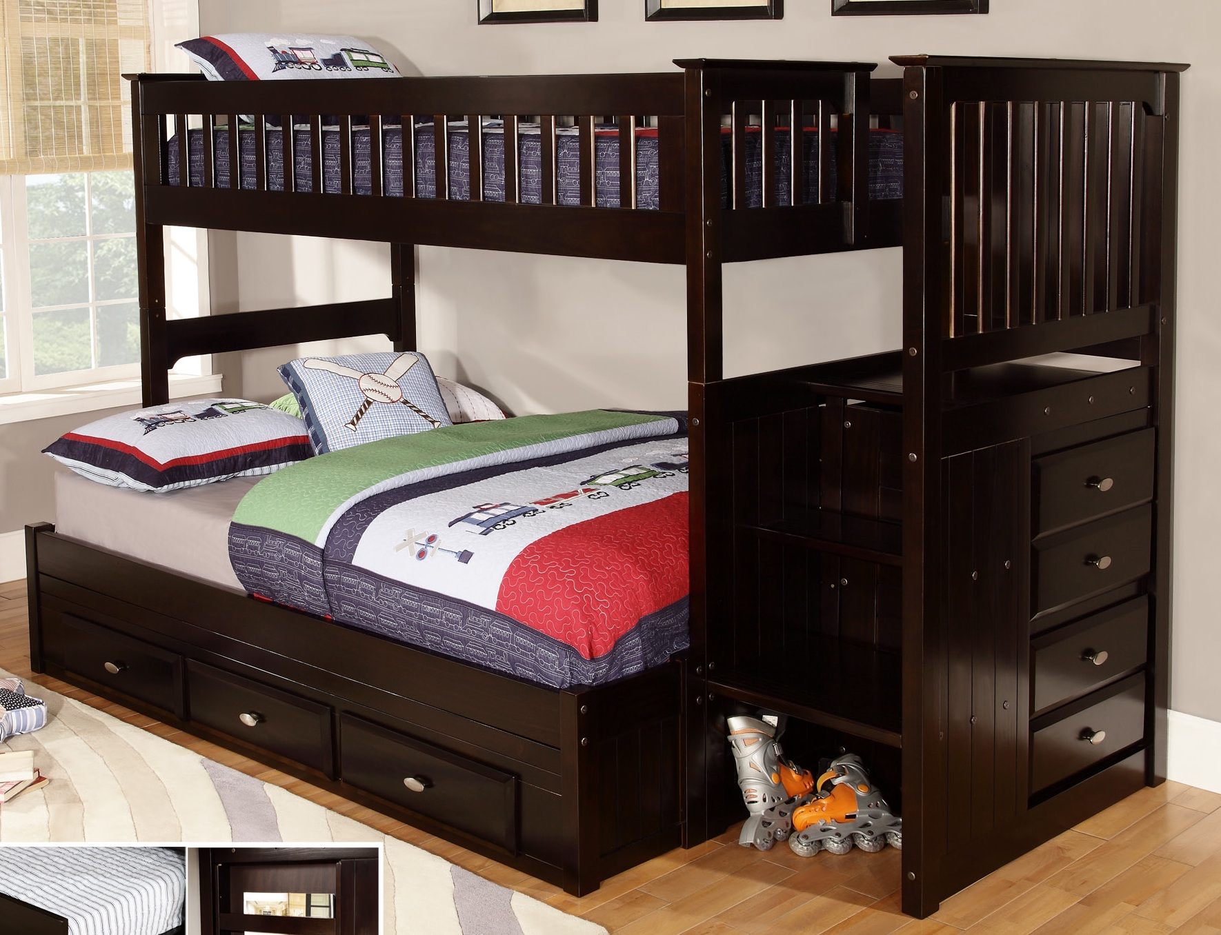 Buy A Bed Discovery World Furniture Twin Over Full Espresso Staircase Bunk Beds