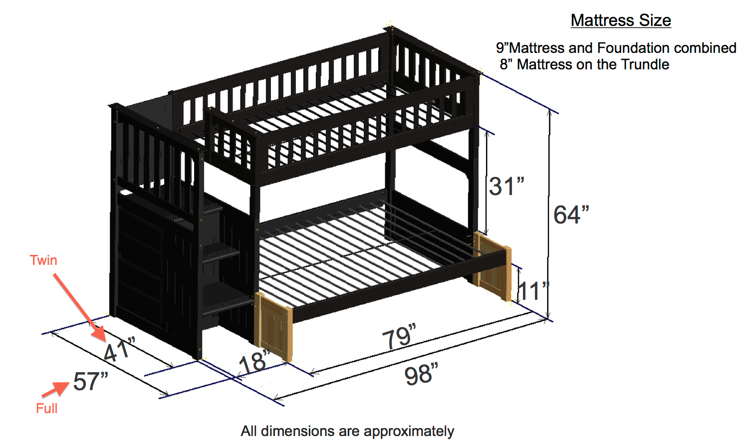 Bunk Bed Dimensions Discovery World Furniture Twin Over Twin Espresso