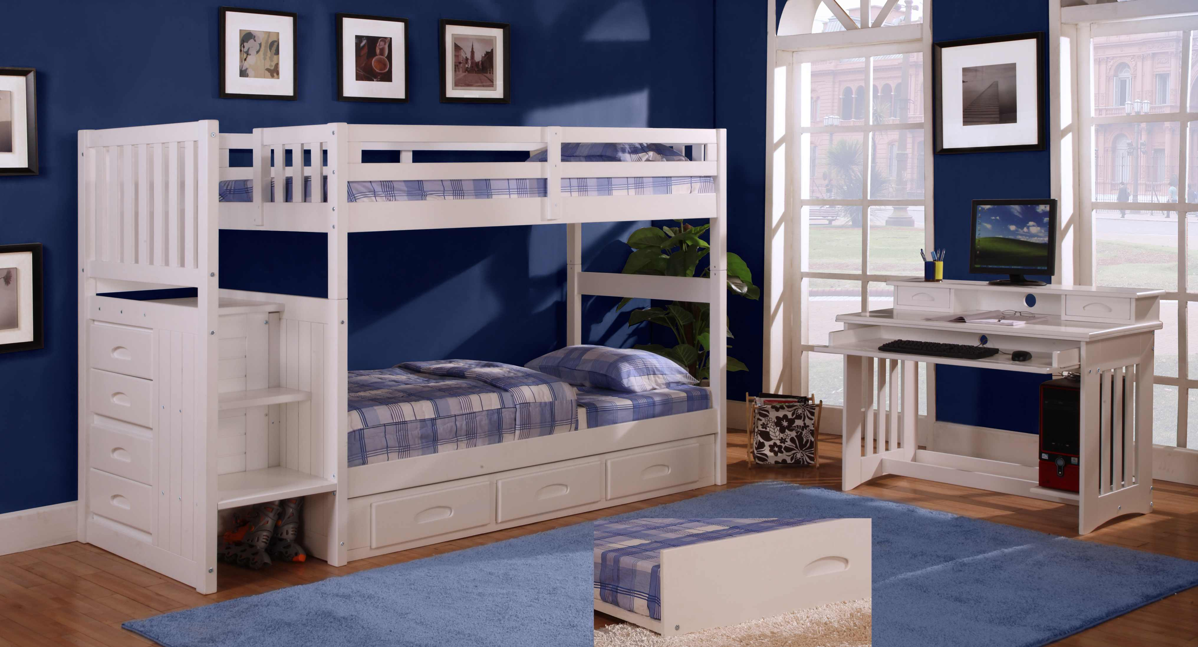 Discovery World Furniture Twin Over Twin White Staircase Bunk Bed Set With 5 Drawer Chest Desk