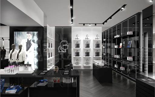 The interior design of the London-based KARL LAGERFELD store.