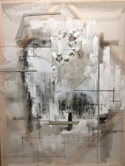 Afra Al Dhaheri Thoughts on Fabric, 2016 Acrylic, graphic, charcoal, cement, oil on cheesecloth 48 x 36 in