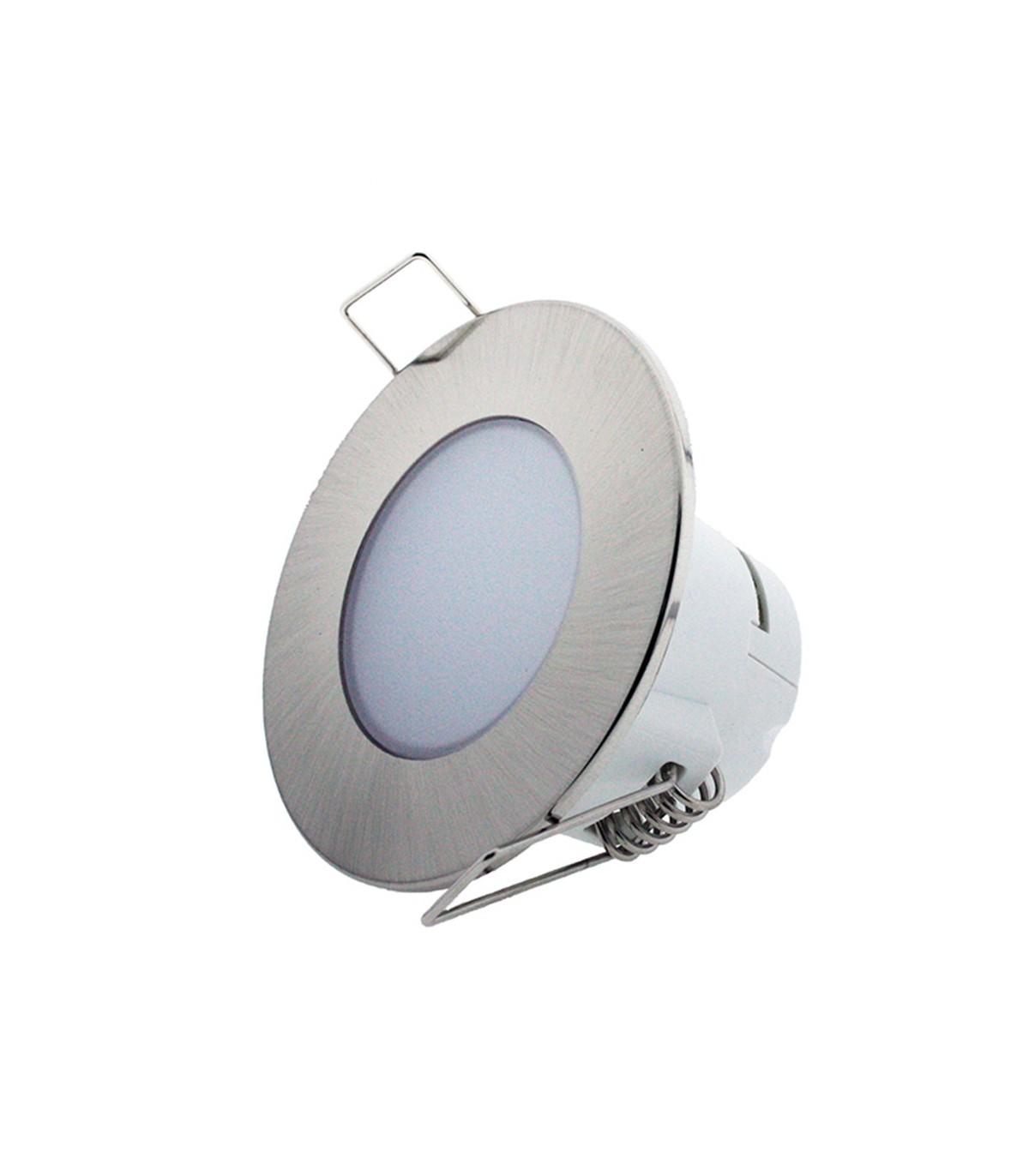 Led Baño Downlight Led 5w Cobcarbon Empotrable Redondo Impermeable Ip54 Para Baño Plata