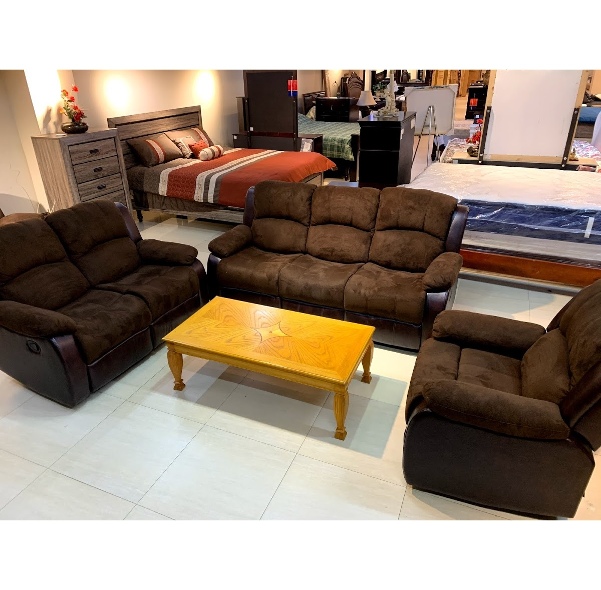 Chicago Brown 3 Piece Sofa Set Khemlani Mart