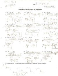Solving Quadratic Equations Worksheet With Answers ...