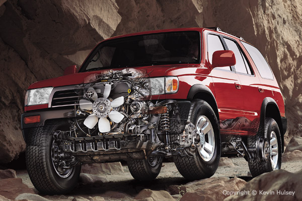 Car Safety Features Crumple Zones Toyota Illustrations From Brochures And National Ads