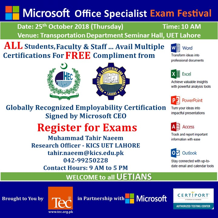 Attend Microsoft Exam Festival at UET and Be Microsoft Certified