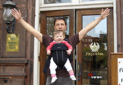 Marc and Baby Riley outside Fitzger's Inn, Duluth, MN