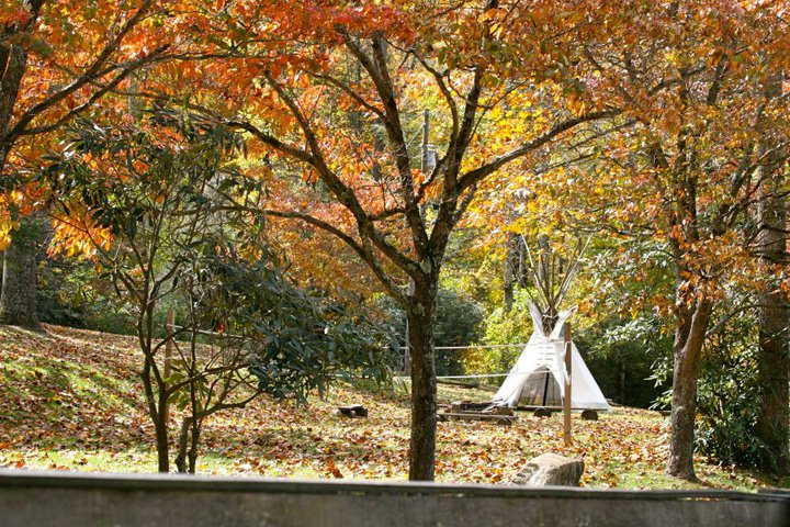 Clear Creek's teepee surrounded by fall's splendor