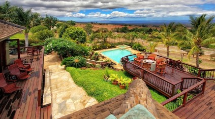 Sick of playing life-sized chess? Take a dip in this pool at the Maui rental.
