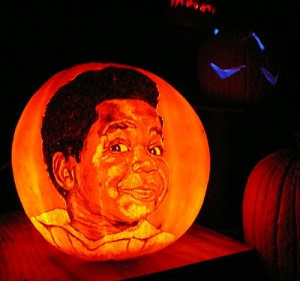 Sitcom legend Gary Coleman immortalized in pumpkin.