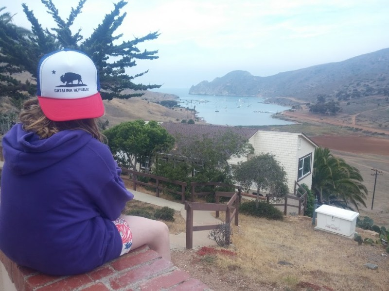 Taking in the view of Catalina Island's tranquil Cat Harbor.