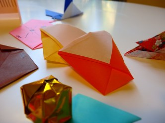 Origami balloons and cups.