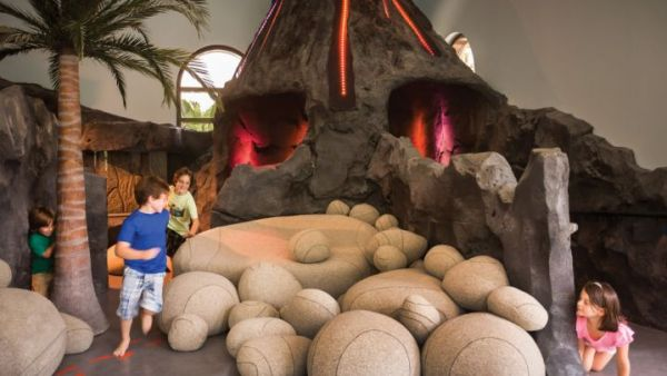 Playing in the volcano in the Four Seasons kid's club.