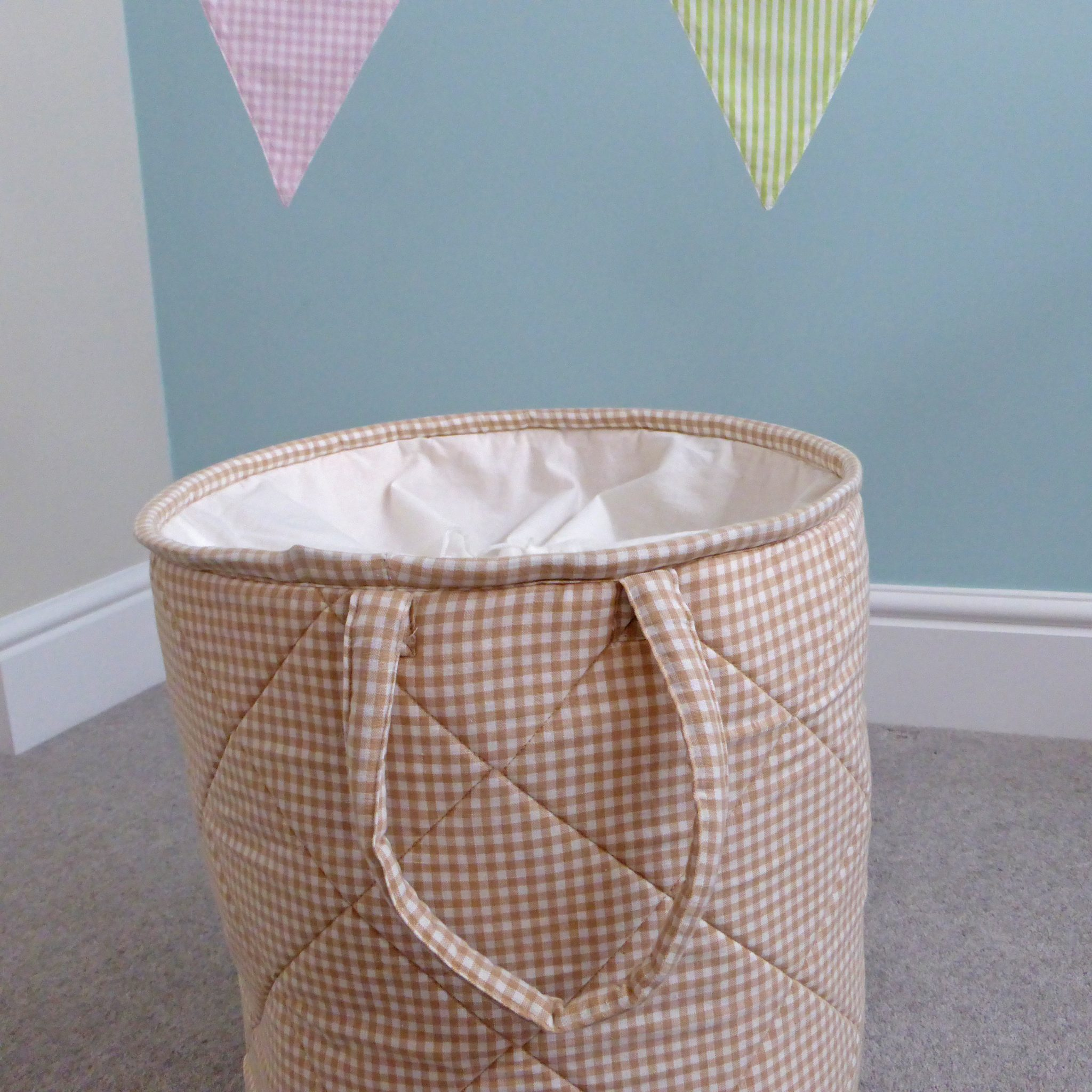 Closed Laundry Basket 3rd Image Close Up Handle Kiddiewinkles Neutral Gingham
