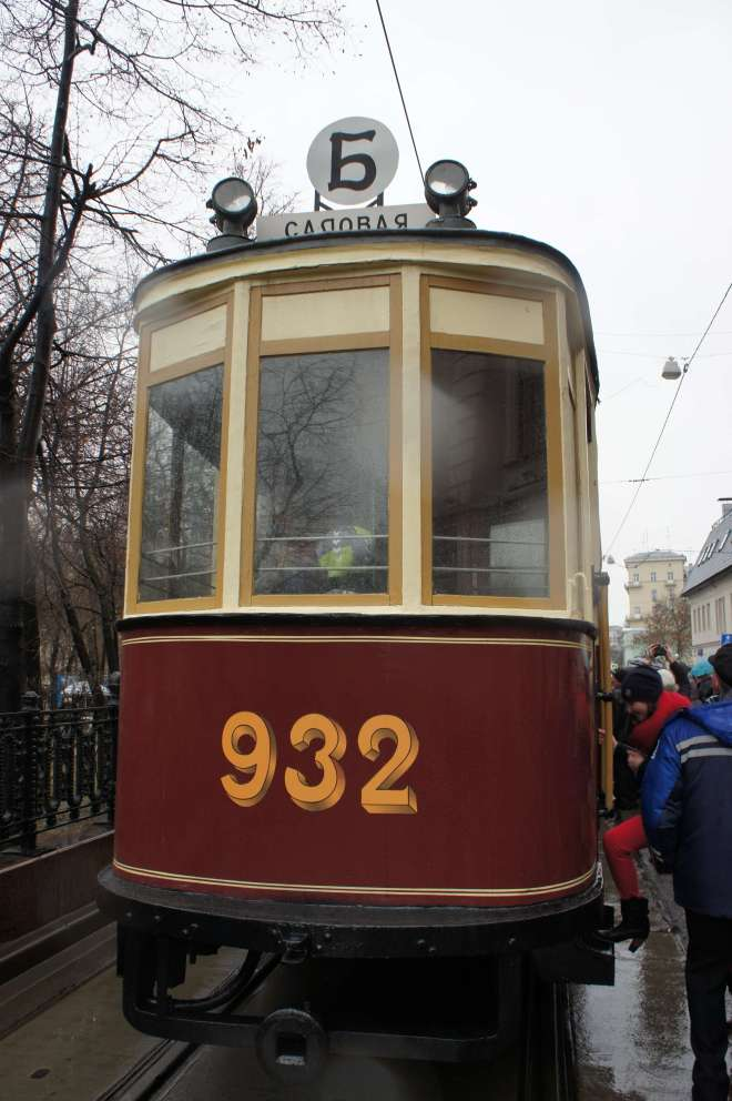 Back of a vintage tram at the tram parade, Moscow