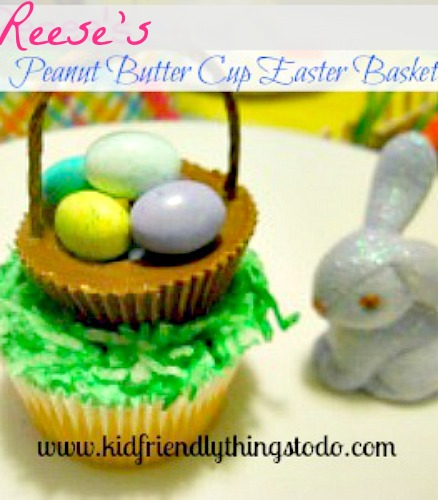 Reese's Peanut Butter Cup Easter Basket Cupcake! Easy and cute!